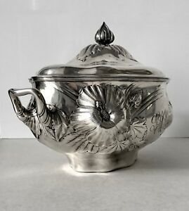 Superb Art Nouveau Antique Gorham Whiting Sterling Silver Hibiscus Lidded Tureen