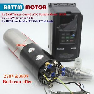 3 7kw Vfd 3kw Atc Water Spindle Motor Automatic Tool Change Bt30 Holder 220 380v