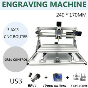 Diy 3 Axis 2417 Cnc Router Engraving Machine Laser Engraver Pcb Cutter Usb Port