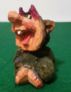 Vintage Henning Hand Carved Wood Norwegian Troll 3 3 8 Tall