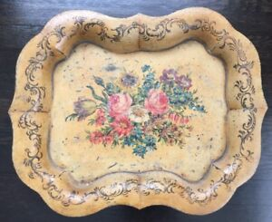 Antique French Hand Painted Tole Tray Large Scalloped Edges Flowers Ovington Ny