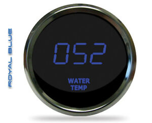 Intellitronix Ms9113b Led Digital Water Temp Gauge 2 1 16 50 To 350 Chrome Blue