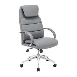 Zuo Leatherette Wrapped Cushions Seat Back Lider Comfort Gray Office Chair