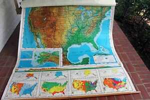 Vtg Maps School Room United States World Wall Mount Pull Down 2 Units 4 Maps