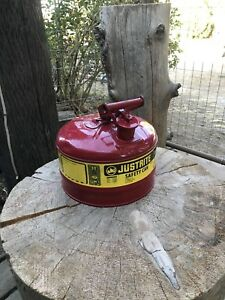 Justrite 7125100 Type I Galvanized Steel Flammables Safety Can 2 5 Gallon Red