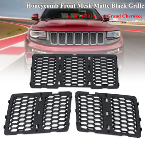 For Jeep Grand Cherokee 2014 16 Matte Black Honeycomb Mesh Grille Grill Inserts