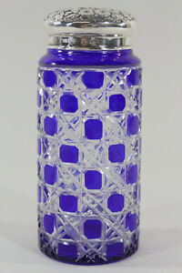 George Nathan Ridley Hayes English Sterling Silver Cobalt Glass Powder Jar