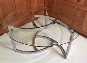Mid Century Modern Beveled Glass Chrome Coffee Table Milo Baughman Style 38