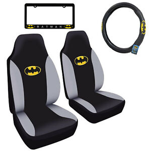 Batman Car Truck Front Seat Covers Steering Wheel Cover License Plate Frame