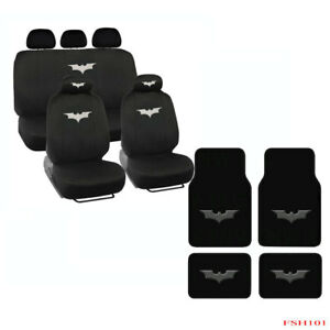 Full Set Batman The Dark Knight Front Rear Car Carpet Floor Mats Seat Covers