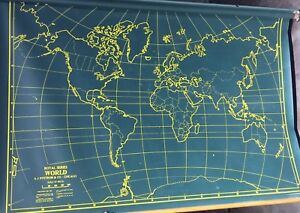 Rare Vintage School Military 42 X 60 World Pull Down Map By A J Nystrom Co
