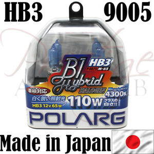 Polarg Hb3 9005 Miracle White 4300k Headlight Halogen Bulbs 55w Made In Japan