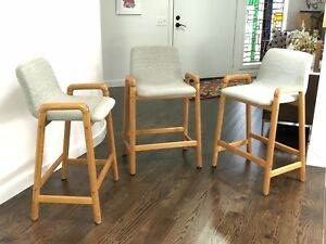 Mid Century Modern Three Bar Stools Made In Denmark