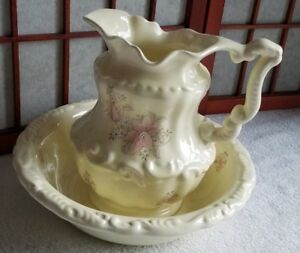 Vintage Vb Athena Wash Basin And Pitcher Victorian Floral Large Usa
