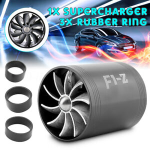 Supercharger Turbonator F1 Z Double Fan Turbine Turbo Air Intake Fuel Gas Saver