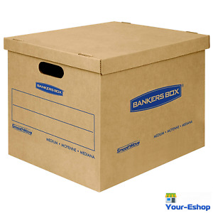 Moving Boxes Medium Size Box Tape Free 18x15x14 Inch 8 Pack Heavy Duty With Lid