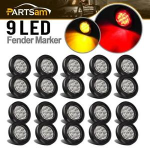 20x 2 Round Led Marker Clearance Light 9led Amber red W Reflectors Kits Trailer