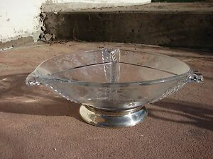 Sterling Silver Vtg Glass Seving Dish Fred Hirsch Duncan Miller Three Feathers
