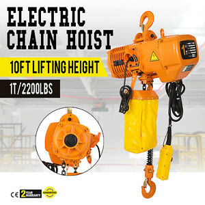 2200lbs Electric Chain Hoist 10 Lift Height 110v 3phase Lift Heavy Duty