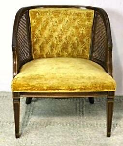 Fine Caned Tufted Armchair Chair Settee Sofa Mid Century Modern Vintage Antique