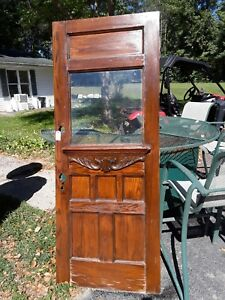Antique Victorian Entry Door With Ripple Glass Very Nice