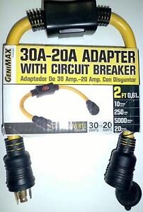 30a 20a Generator Adapter Cord 2 Ft Extension Circuit Breaker Power Commercial