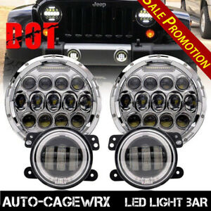 Dot 7 Inch Led Headlights With Drl 4 Fog Halo Lights For Jeep Wrangler 4pcs