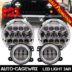 7 inch 60w Led Headlights With Drl 4 fog Lights For Jeep Wrangler 4pcs