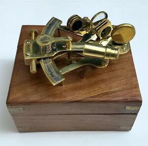 Nautical Marine Navigation Instrument 5 Brass Sextant With Wood Box With Defect