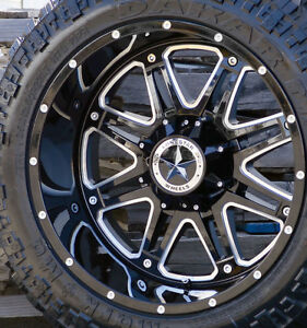 22 Black Lonestar Outlaw Wheels 35 Mt Tires 8x6 5 22x12 44 Ram Chevy 2500 3500