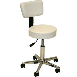 White Backrest Stool Dentist Doctor Medical Massage Facial Spa Salon Equipment