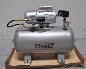 Gast 1 Phase Electrical Horizontal Tank Mounted 0 33hp 12 Gallon Air Compressor