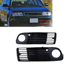 Pair Front Lower Bumper Fog Light Grille Grill For Audi A6 C5 98 01 Pre Facelift