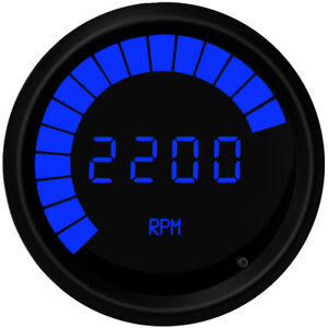 3 3 8 Universal Memory Digital Tachometer Bargraph Gauge Blue Led Black Bezel