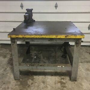 4 x4 x3 H X2 Thick Steel Top Welding Layout Table With Vintage Reed Vise