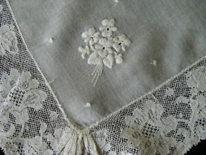 Antique Victorian White Linen Lace Wedding Hanky Whitework Hand Embroidered