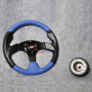 320mm Blue Pvc Leather Black Caron Look Steering Wheel Jdm Horn Hub Adapter