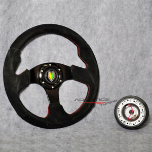 Racing Steering Wheel 320mm Black Suede Spoke Red Stitch Hub Adapter Horn