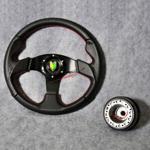 Fits Vw Beetle 320mm Steering Wheel Pvc Carbon Look Red Stitch 6 Bolt Horn