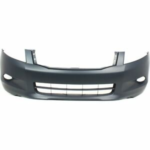 Bumper Cover For 2008 2010 Honda Accord 6cyl 4 Door Front Primed W Spoiler Holes