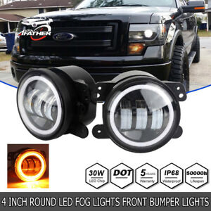 2x 4inch Led Fog Light Drl White Halo Ring For Dodge Jeep 2007 2008 Ford F 150