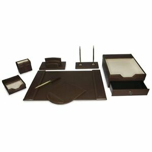 Majestic Goods 8 Piece Brown Pu Leather Desk Organizer Set With Double Stack