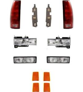 Headlights Tail Lights W boards Parklamps Reflectors For Chevy Truck 94 98 Tahoe