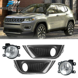 For 17 18 Jeep Compass Oe Factory Style Front Fog Light Fog Lamp Pair