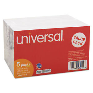 Universal 3 X 5 White Ruled Index Cards pack Of 5