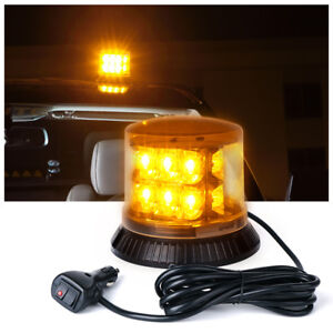 18 Led Rooftop Revolving Magnetic Strobe Emergency Beacon Light Dome Style Amber