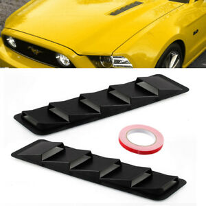 2x Universal Hood Vent Louver Scoop Cover Trim For Ford Mustang Matte Blac