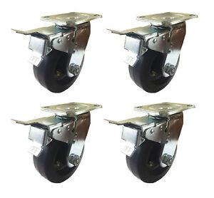 6 X 2 Heavy Duty rubber On Cast Iron Caster 4 Swivels With Total Lock Brak