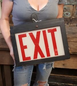 Vintage Double Sided Ceiling Mounted Lighted Exit Sign Glass