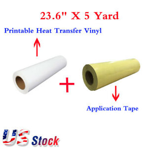 23 6 x5 Yard White Eco solvent Printable Heat Transfer Vinyl Application Tape